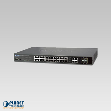 Planet WGSW-28040 IPv6 Managed Switch 28-Port 10/100/1000TX with 4 shared 100/1000FX SFP