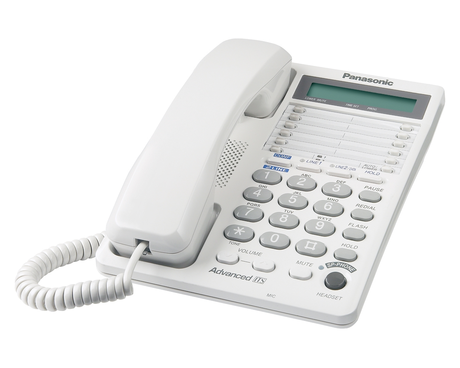 Panasonic Kx Ts208w 2 Line Analog Corded Phone With Lcd