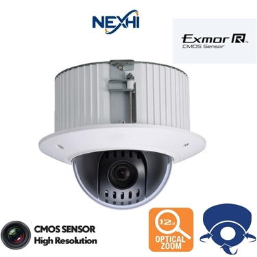 Nexhi NXS-12XRIDCVI-MC In Ceiling Flush Mount 720P CVI Mini PTZ Camera with 12X Optical Zoom & 360° Rotation