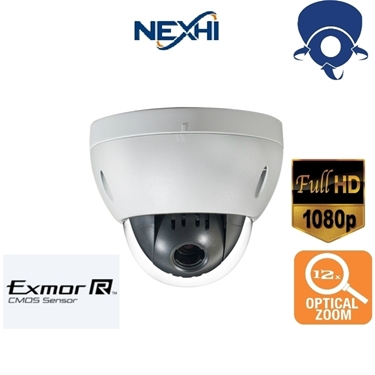 Nexhi NXH-12XIDCVI-1080-MC 1080P HD-CVI Mini PTZ Camera with 12X Optical Zoom, 360° Rotation, PTZ Control Through Coaxial Cable