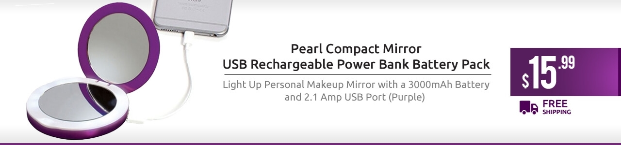 Pearl Compact Mirror USB Rechargeable power bank Battery Pack