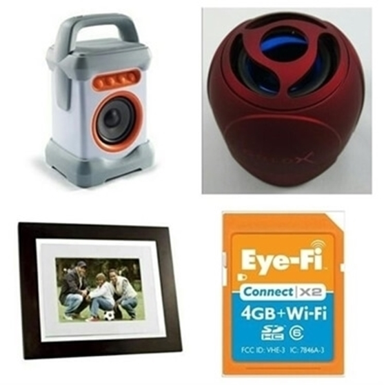 Bundle of 8 inch Photo Frame + GoldX Blue Tooth Spreaker GX-SPKR 1.0 Speaker + Blue Tooth Speaker + Eye-Fi 4 GB Wireless SD Card