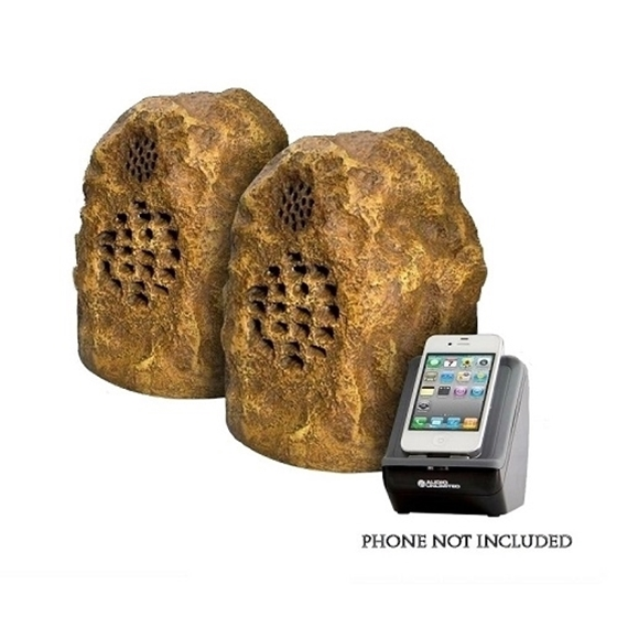 Refurbished Audio Unlimited 900mhz Sandstone Wireless Rock Speaker Pair With Dual Transmitter