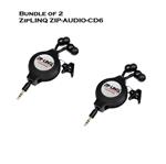 Bundle of 2 - ZipLINQ ZIP-AUDIO-CD6 Retractable 2.5mm Earbauds - Black