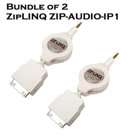 Bundle of 2 - ZipLINQ ZIP-AUDIO-IP1 3.5mm To IPod Connector Cable - White