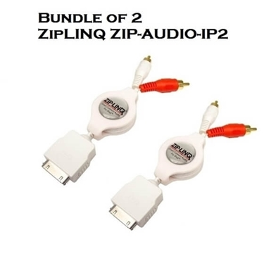 Bundle of 2 - ZipLINQ ZIP-AUDIO-IP2 Retractable 30-Pin Dock To 2 RCA Audio Cable