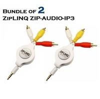 Bundle of 2 - ZipLINQ ZIP-AUDIO-IP3 Retractable IPod 3.5mm To RCA Audio/ Video Cable