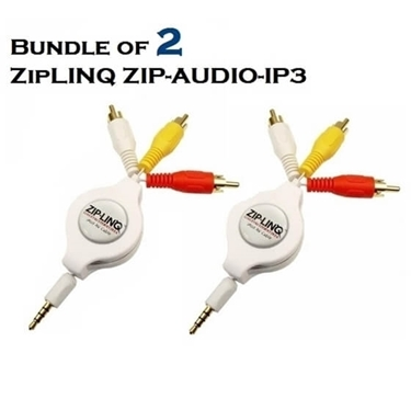 Bundle of 2 - ZipLINQ ZIP-AUDIO-IP3 Retractable IPod 3.5mm To RCA Audio/ Video Cable