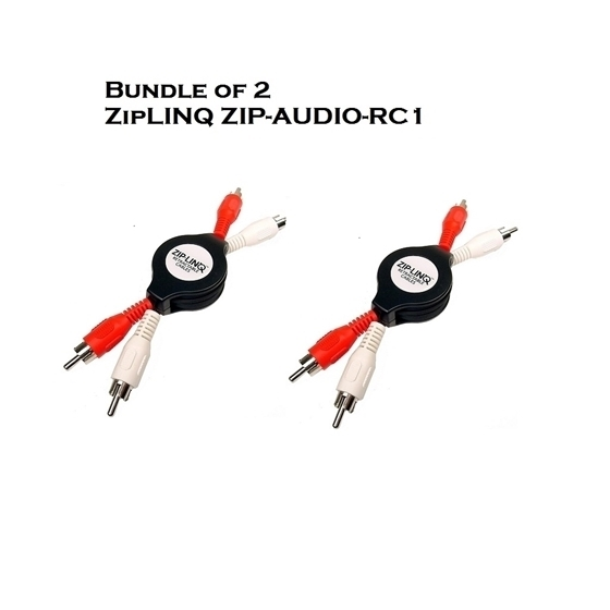 Bundle of 2 - ZipLINQ ZIP-AUDIO-RC1 Retractable Stereo RCA Cable