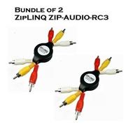 Bundle of 2 - ZipLINQ ZIP-AUDIO-RC3 Retractable Audio / Video 3 RCA Cable