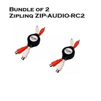 Bundle of 2 - Ziplinq ZIP-AUDIO-RC2 Stereo RCA M/F Retractable Extension Cable