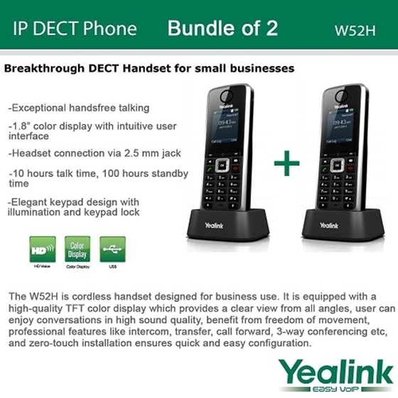 Yealink W52h Bundle Of 2 Sip Cordless Phone System For Business Solutions
