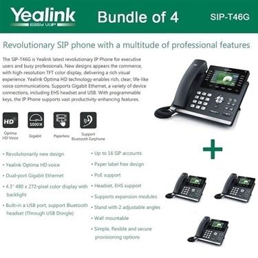 Yealink 4 Pack SIP-T46G Ultra-Elegant Gigabit IP Phone