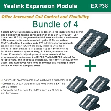 Bundle Of 4 Expansion Module-Compatible Yealink T26P And T28P