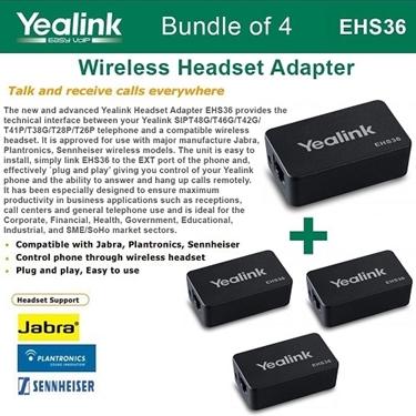 Yealink Bundle Of 4-EHS36 Wireless Headset Adapter
