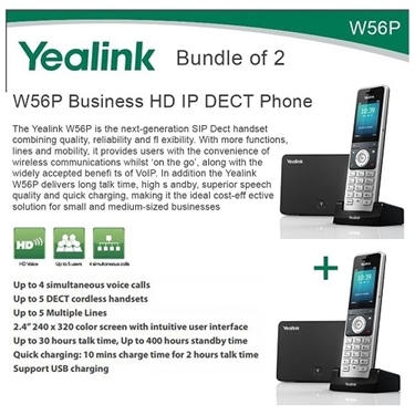 Yealink W56P Bundle Of 2 Business HD IP DECT Phone And Base Unit