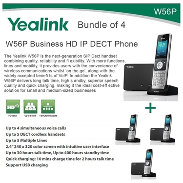 Yealink W56P Bundle Of 4 Business HD IP DECT Phone And Base Unit