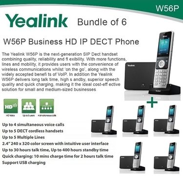 Yealink W56P Bundle Of 6 Business HD IP DECT Phone And Base Unit