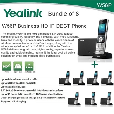 Yealink W56P Bundle Of 8 Business HD IP DECT Phone And Base Unit