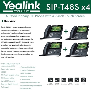 Yealink IP Phone SIP-T48S 4-Pack 16 SIP Accounts HD Voice PoE Support
