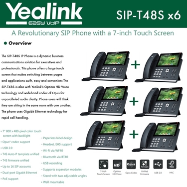 Yealink IP Phone SIP-T48S 6-Pack 16 SIP Accounts HD Voice PoE Support