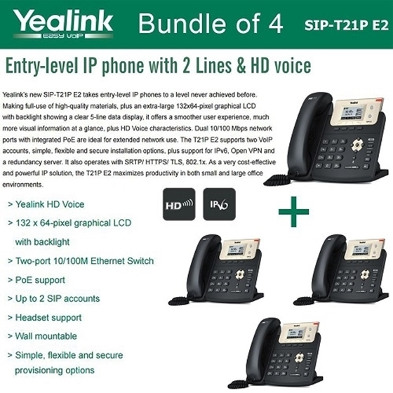 Yealink SIP-T21P E2 Bundle of 4 Entry-level IP phone 2 Lines