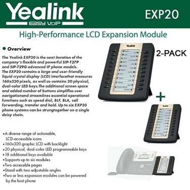 Yealink EXP20 2-PACK LCD Expansion Module for SIP-T27P and SIP-T29G