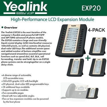 Yealink EXP20 4-PACK LCD Expansion Module For SIP-T27P And SIP-T29G