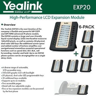Yealink EXP20 6-PACK LCD Expansion Module For SIP-T27P And SIP-T29G