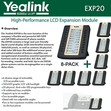 Yealink EXP20 8-PACK LCD Expansion Module For SIP-T27P And SIP-T29G