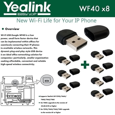 Yealink WF40 8-Pack USB Dongle Wi-Fi Plug And Play 150 Mbps