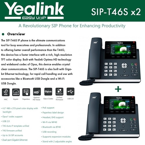Yealink IP Phone T46S 2-Pack Optima HD USB Dongle PoE 16 VoIP accounts