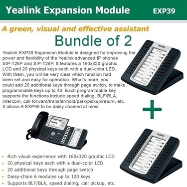 Yealink Bundle Of 2-Pack IP Phone Expansion Module For SIP-T28P/T26P