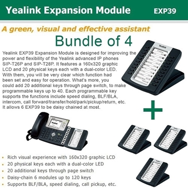 Yealink Bundle Of 4-Pack IP Phone Expansion Module For SIP-T28P/T26P
