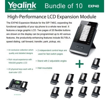 Yealink EXP40 bundle of 10pk LCD Expansion Module for SIP-T46G and SIP-T48G