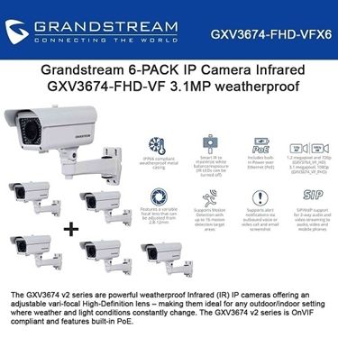 GrandStream GXV3674-FHD-VF 6-Pack Vari-Focal Infrared Weatherproof IP Camera