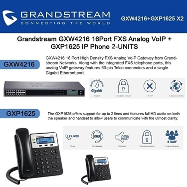 Grandstream GXW4216 16Port FXS Analog VoIP+GXP1625 2 Lines IP Phone PoE 2-Pack