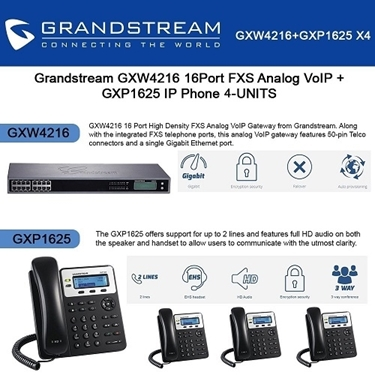 Grandstream GXW4216 16Port FXS Analog VoIP+GXP1625 2 Lines IP Phone PoE 4-Pack