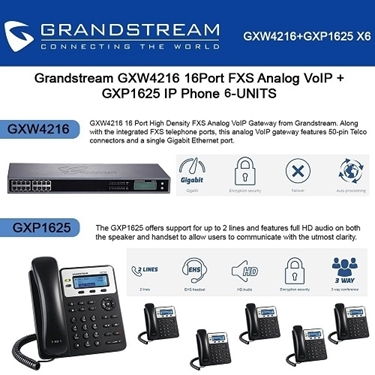 Grandstream GXW4216 16Port FXS Analog VoIP+GXP1625 2 lines IP Phone PoE 6-pack