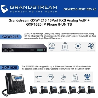Grandstream GXW4216 16Port FXS Analog VoIP+GXP1625 2 lines IP Phone PoE 8-pack