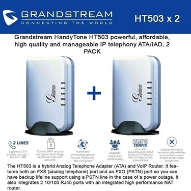 Grandstream Bundle of 2-pack 1 FXS-FXO Port Analog Telephone Adapter