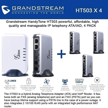 Grandstream Bundle of 4-pack 1 FXS-FXO Port Analog Telephone Adapter