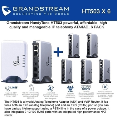 Grandstream Bundle of 6-pack 1 FXS-FXO Port Analog Telephone Adapter