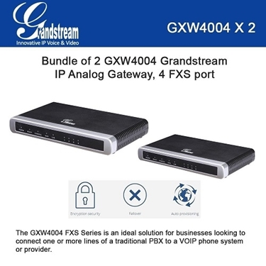 Grandstream GXW4004 BUNDLE of 2-pack 4 ports FXS IP Analog Gateway