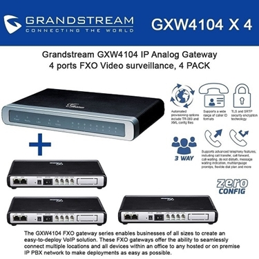 Grandstream GXW4104 BUNDLE of 4-pack 4-Ports FXO IP Analog Gateway