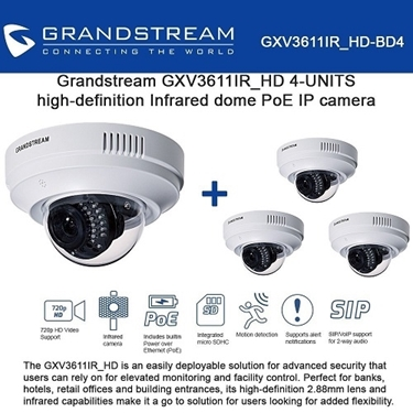 Grandstream GXV3611IR_HD Bundle of 4-Pack Infrared Dome HD IP Camera
