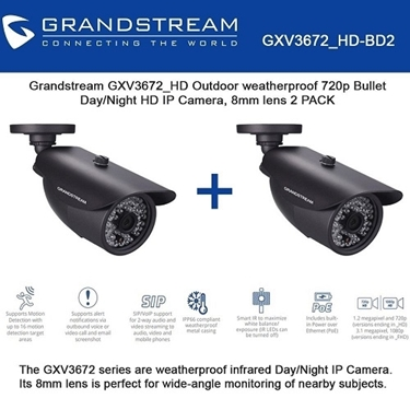 Grandstream Bundle Of 2-Pack Outdoor 720p HD IP Camera