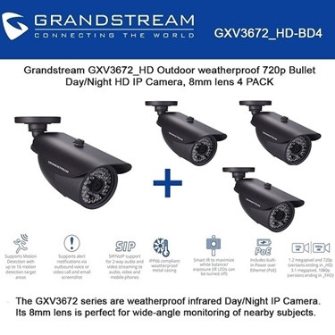 Grandstream Bundle of 4-packs Outdoor 720p HD IP Camera