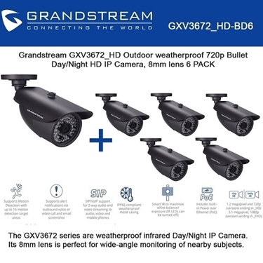 Grandstream Bundle of 6-packs Outdoor 720p HD IP Camera