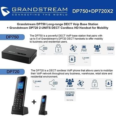 Grandstream DP750 DECT Base Station+DP720 DECT HD Handset 2-packs